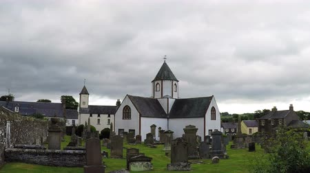 churchyard : Lauder Old Parish Church.  A timelapse recording of Lauder Old Parish Church, which is situated in Lauder, the Scottish Borders.  The church has an octagonal central tower (4k, 25fps).
