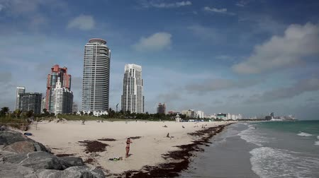 linha de costa : The view from South Pointe along Miami Beach.  A girl can be seen looking out to sea.