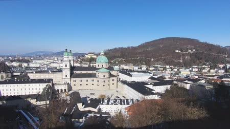 avusturya : Salzburg Skyline.  The view across Salzburg Old Towns skyline, in Austria on a winter day.