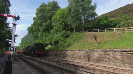 konzervált : A steam train is seen arriving in Goathland Station.  The station is on the North Yorkshire Moors Railway in Northern England. Stock mozgókép