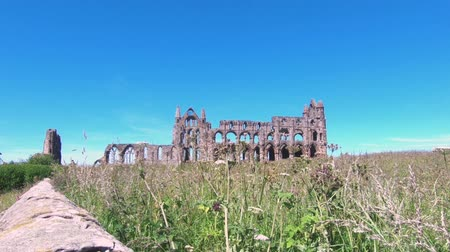 век : The view towards Whitby Abbey.  Whitby is a North Yorkshire town in northern England and the abbey on the East Cliff dates back to the 7th century.