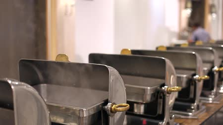 Metallic Buffet Catering Food Preparation with Hot Steam Stok Video