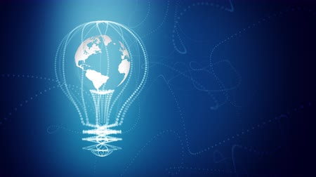innovation : Bulb with the world inside concept design, blue abstract background. digital animation. Seamless loop, repeat from second 4. Stock Footage