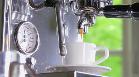 refletir : Espresso pouring from classic coffee into small white cup. Close-up shot. Stock Footage