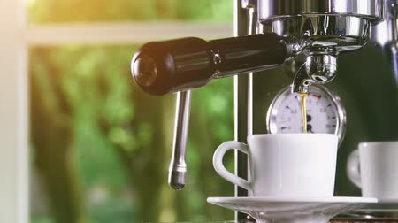 titular : Espresso pouring from classic coffee into small white cup. Close-up shot. Stock Footage