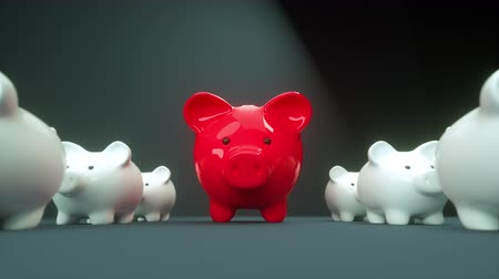 kumbara : Red piggy bank pig with little white kids - smooth motion tracking shot