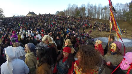pagan feast : KAUNAS, LITHUANIA - FEBRUARY 25: Uzgavenes traditional celebration in Rumsiskes on Feb 25, 2017, Kaunas, Rumsiskes, Lithuania