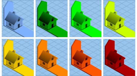 efektywność : Isometric eight houses with energy class bars