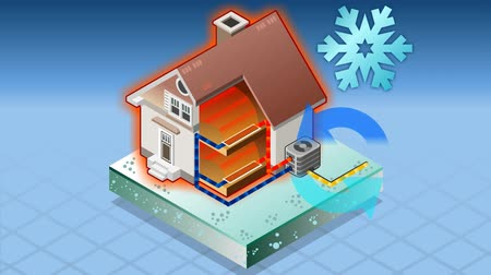 from air : Detailed animation of a Isometric house with conditioner in heat production Stock Footage