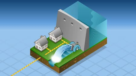 baraj : animation of a Isometric houses powered by watermill Stok Video