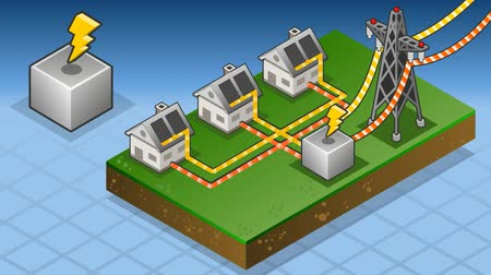 yeşil çimen : animation of a Isometric houses with solar panels in production of energy