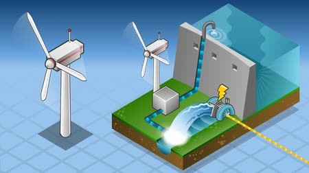 baraj : animation of a Isometric watermill and wind turbine in production of energy Stok Video