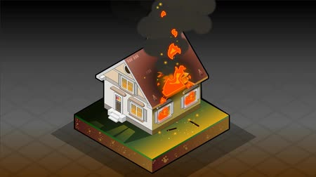 housing problems : animation of a isometric House on fire