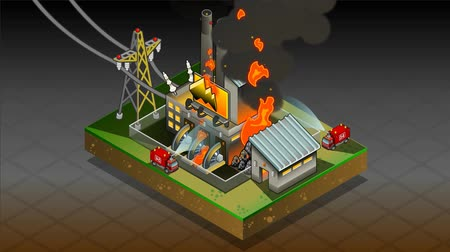 опасность : Detailed animation of a isometric disaster of coal plant fire Стоковые видеозаписи