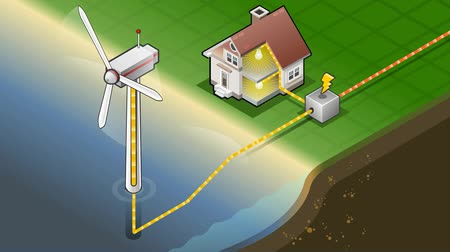 türbin : Detailed animation of a Isometric house with offshore wind turbines in production of energy