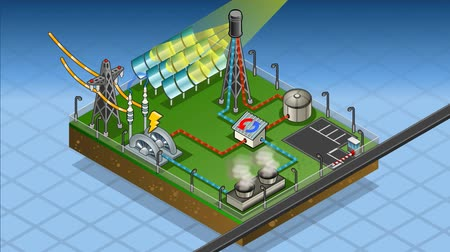 elektrownia : Detailed animation of a isometric termo solar plant in production of energy