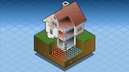 building heat : detailed animation of a geothermal heat pump under floor heating diagram Stock Footage