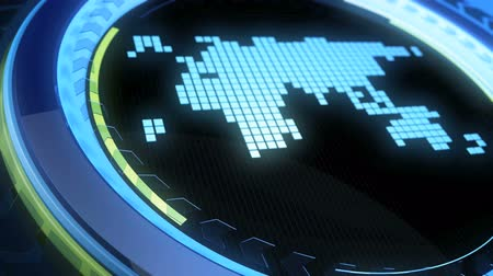 vítreo : LCD world map moves in a vitreous cycle