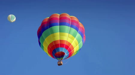 from air : Colorful balloon flying and with the flames on. HD
