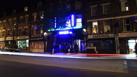 entrance : Night time lapse of outside a London club.