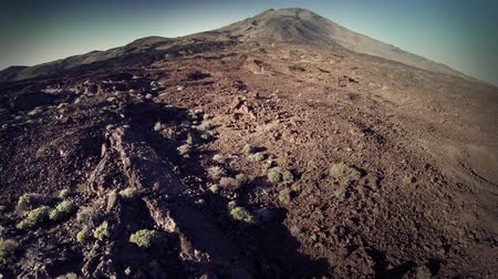 picos : Forward travelling and aerial view of Teide peak, Canary Islands, Spain. HD
