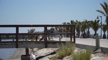 This is footage of some bridges and a pier on a shoreline beach.
