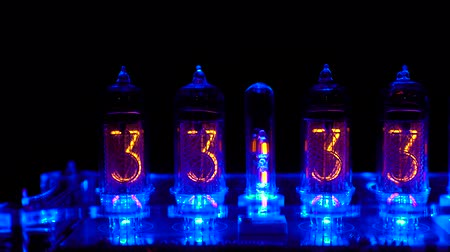minutos : Nixie tube indicator of the numbers retro style