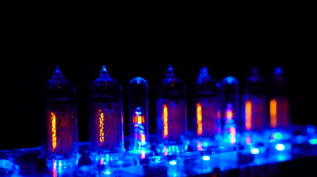 zegar : Nixie tube indicator of the numbers retro style