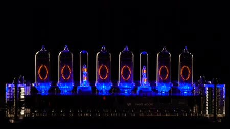хронометр : Nixie tube indicator of the numbers retro style