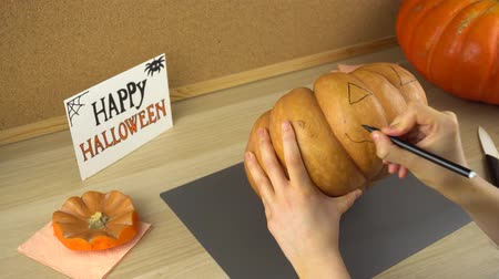 aesthetics : Womens hands draw a face on a pumpkin for Halloween using black felt-tip pen