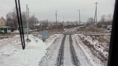 locomotiva : video captured from the cab of locomotive during the movement of trains