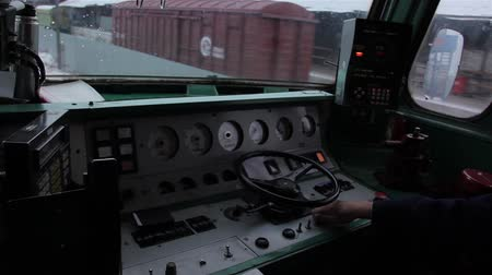 train workers : video captured from the cab of locomotive during the movement of trains