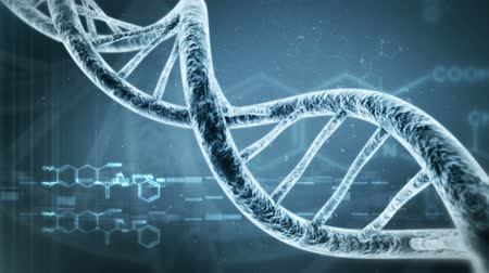 клетка : Rotating DNA with formula background. Genetic engineering scientific concept