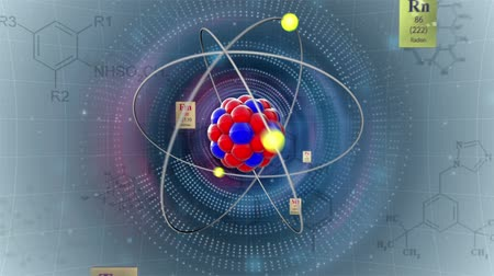 atomok : Scientific background. Atom model with elements of Periodic table and chemical formulas