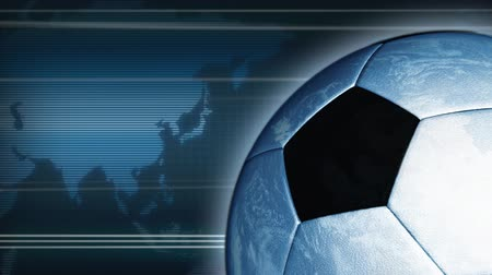 futebol : Rotating earth-football, world map on the background. For soccer event. Loop.