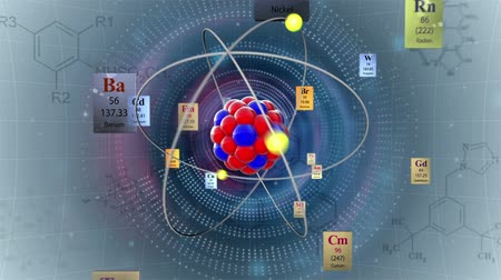 formuła : Scientific Background. Atom Model With Elements Of Periodic Table And Formulas
