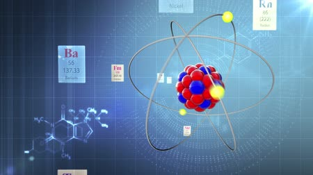 elements : Background with atom model. Through the Elements of Periodic table and chemical formulas