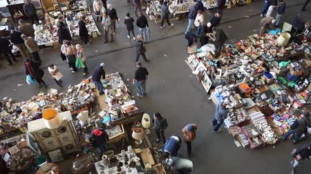 jumble : Barcelona, Spain - March 02, 2016: The Mercat dels Encants also known as Fira de Bellcaire is the oldest and largest flea market in Barcelona. Stock Footage