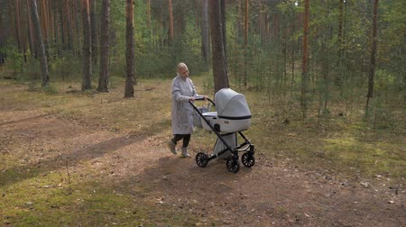пальто : Young cute mom walking in the Park with a stroller. listening to music and dancing