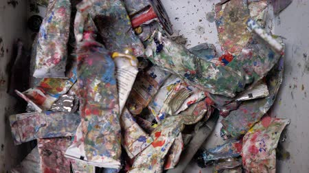 organize : Tubes of used oil paint are in the box. Old tubes of oil paint. 4K Stock Footage