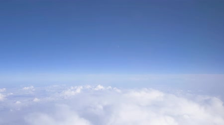 stratosfer : Cumulus FlightFlying above the clouds, fantastic panorama. 4K. Aerial view. Flying above the clouds. Stok Video