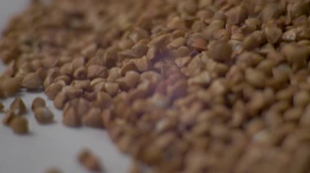 trigo sarraceno : Rotating raw buckwheat. Buckwheat pours close-up. Ð¡lose up dry uncooked seeds. Food video Vídeos