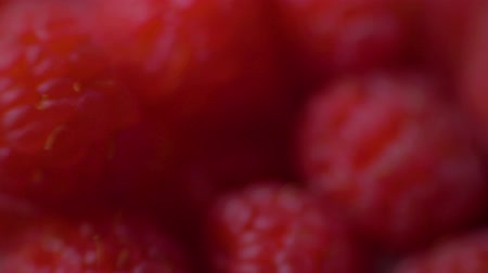 rotační : Raspberries super close up 4K stock footage. Raspberries in macro close up with a sliding camera move. Concept: footage for the recipe. Food video Dostupné videozáznamy