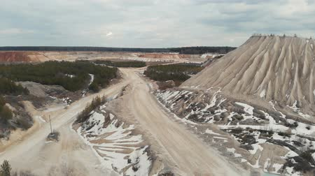 stockpile : The road in the quarry. Aerial view 4K