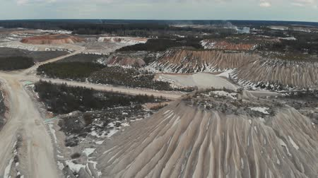 stockpile : Aerial view of the mining quarry. Dunes of mining quarries. Aerial view 4K