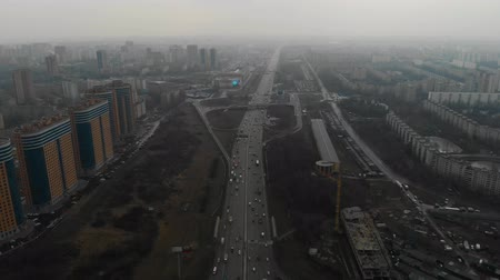 autobahn : Top view of a major road in the city. Moscow, MKAD. Aerial view 4K