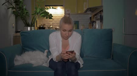 cheated : A young woman uses the phone sitting on the couch in the evening with a cat. The girl read the good news on the phone. 4K