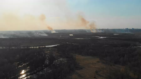кусты : Aerial view of the burning fields near the city. Burning fields in the spring near the city.