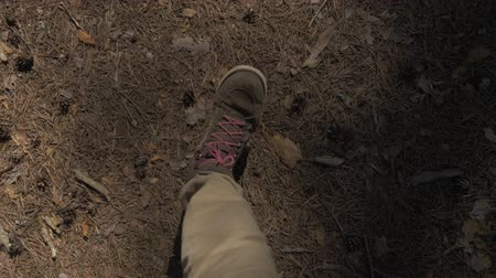 vándorlás : POV The view from the eyes down on a man walking in brown pants and boots with red laces through the woods. 4K