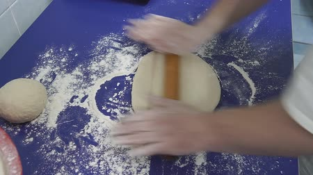 bread stick : Female hands making dough for pizza
